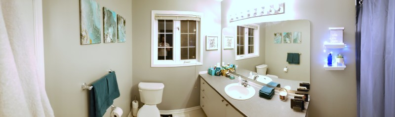 Panorama of bathroom in light grey with green accents.