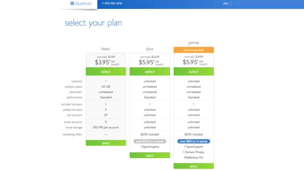 bluehost-pricing-website