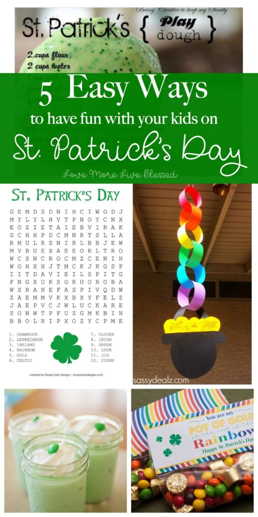 Have fun with your kids on St. Patrick's day. We're making it easy for you by rounding up fun and easy activities, foods and crafts for St. Patrick's Day. Here's to fun for you and your family! Pin now and read!