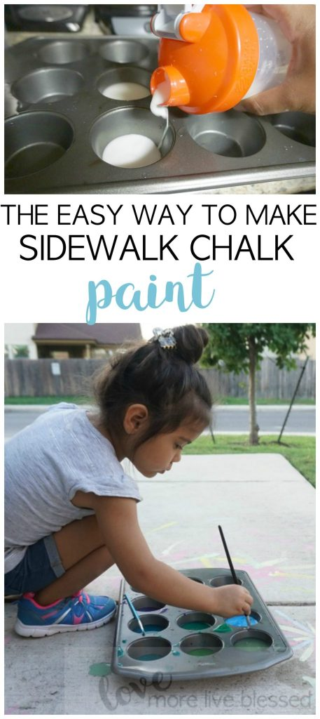 How to make homemade sidewalk chalk paint. This is one of the easiest ways to make washable sidewalk chalk paint and keep your kids busy for awhile! sidewalk chalk, summer activities for kids, chalk paint, cornstarch and water paint, easy kid activities