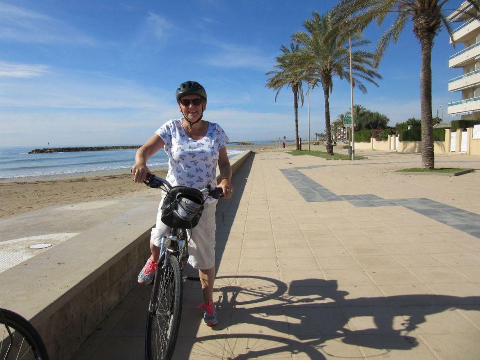 Margaret on her bike