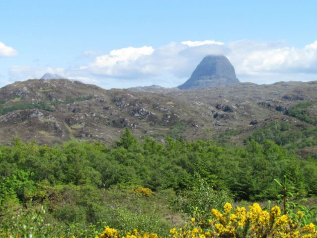 Suilven mountain view from Culag Woods Lochinver