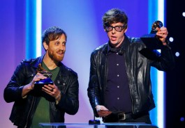 Black Keys members accept their awards for best rock album and best rock song at the 55th annual Grammy Awards in Los Angeles