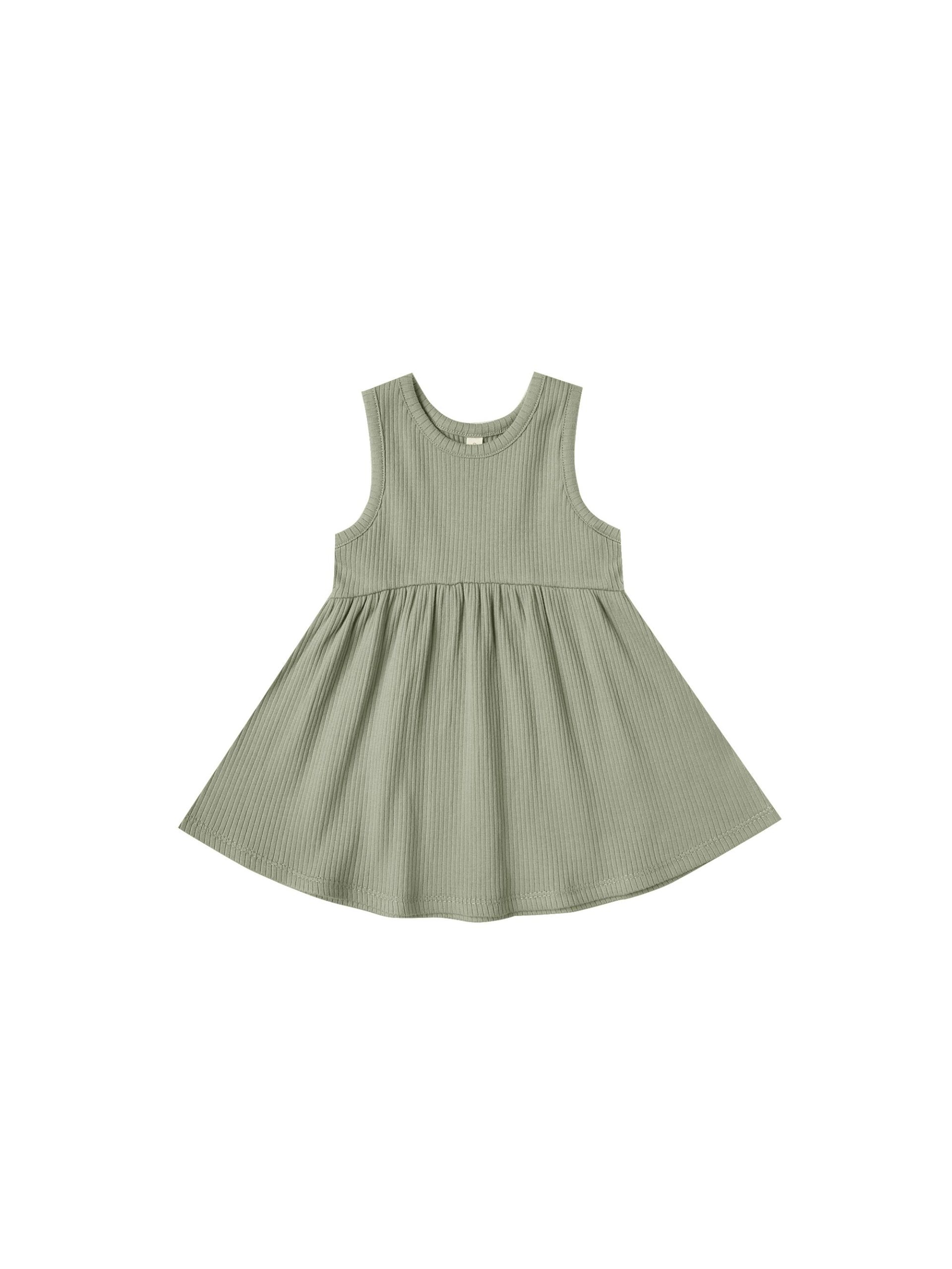 Quincy Mae Ribbed Tank Dress (moss)