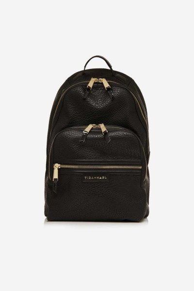 Tiba and Marl Elwood Backpack (faux leather black/gold)