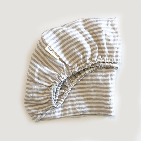 7 Pm Linen Bassinet Sheet (grey stripe)