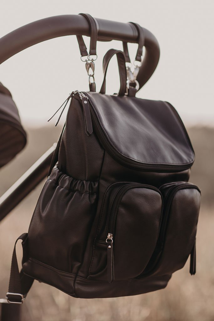 Oioi Faux Leather Nappy Bag Backpack (black)