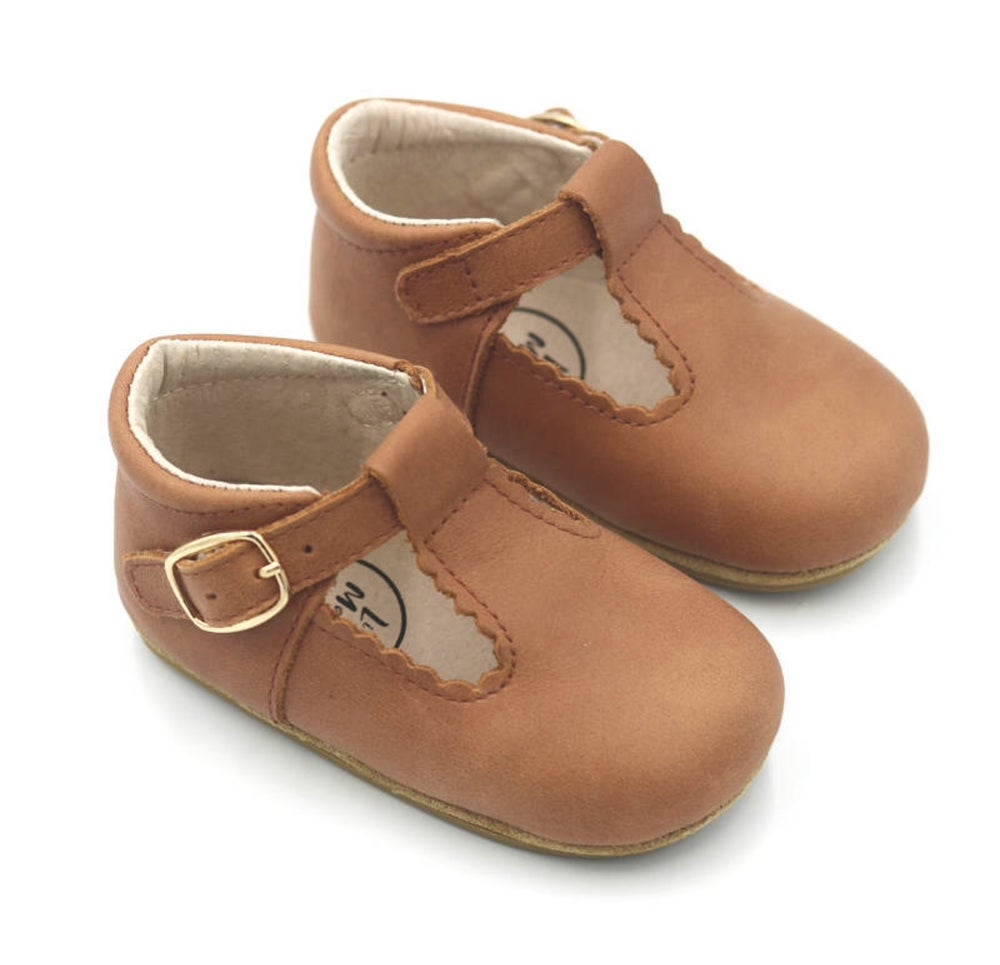 Little Ma Zoes Wax Leather T-Bars