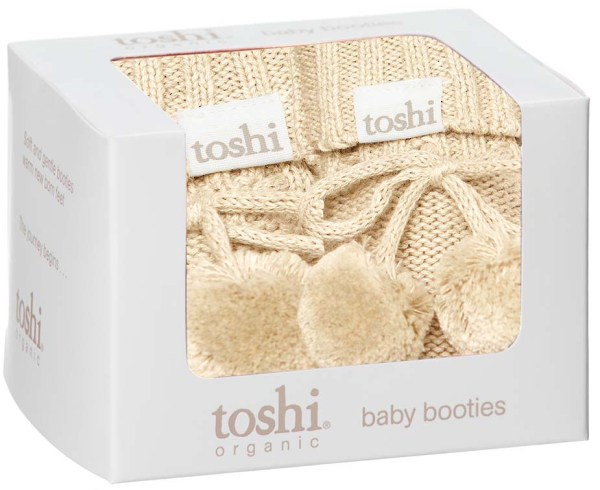 Toshi Organic Knitted Baby Booties (oatmeal)