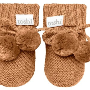 Toshi Organic Knitted Baby Booties (pecan)