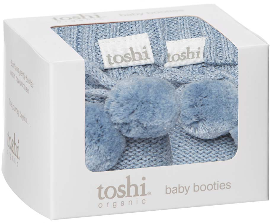 Toshi Organic Knitted Baby Booties (tide)