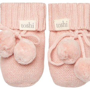 Toshi Organic Knitted Baby Booties (peony)