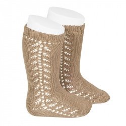Condor Side Openwork Knee High Socks (camel)
