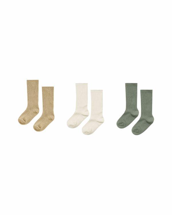 Rylee and Cru Knee High Socks 3pk (almond/natural/fern)