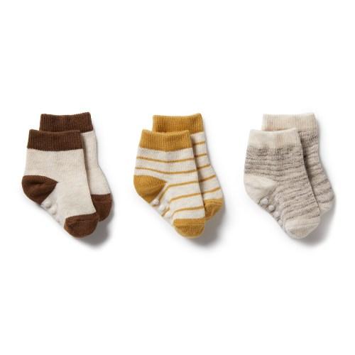 Wilson and Frenchy 3 Pk Baby Socks (oatmeal, antelope, sepia)