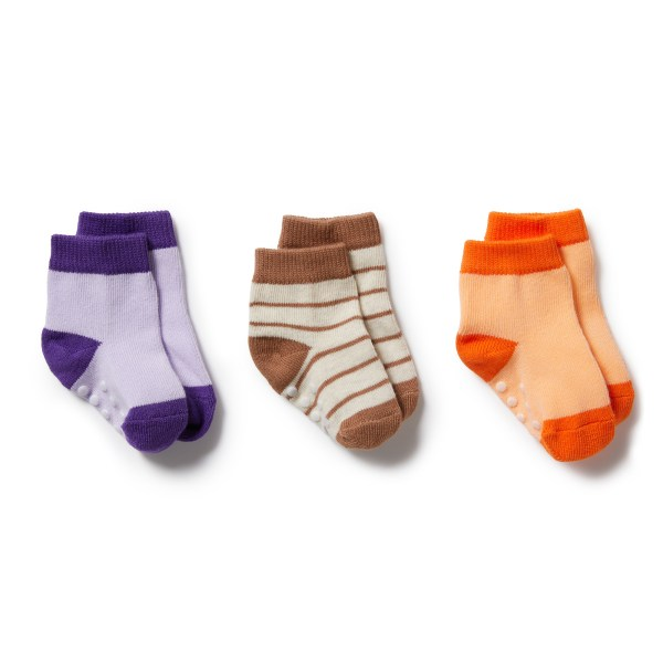 Wilson and Frenchy 3 Pk Baby Socks (apricot, burro, pastel lilac)