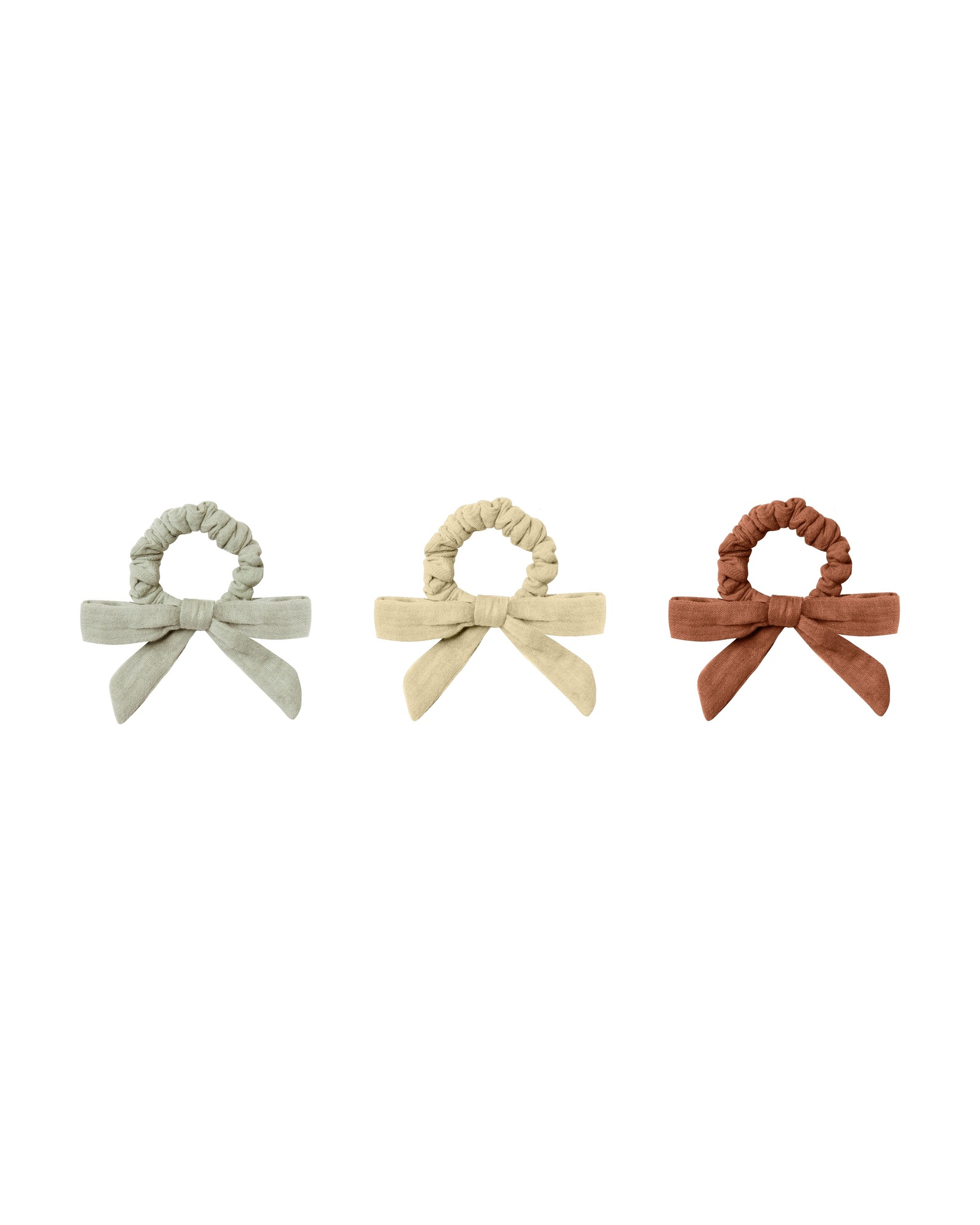 Rylee and Cru Little Bow Scrunchie Set of 3 (sage/butter/amber)