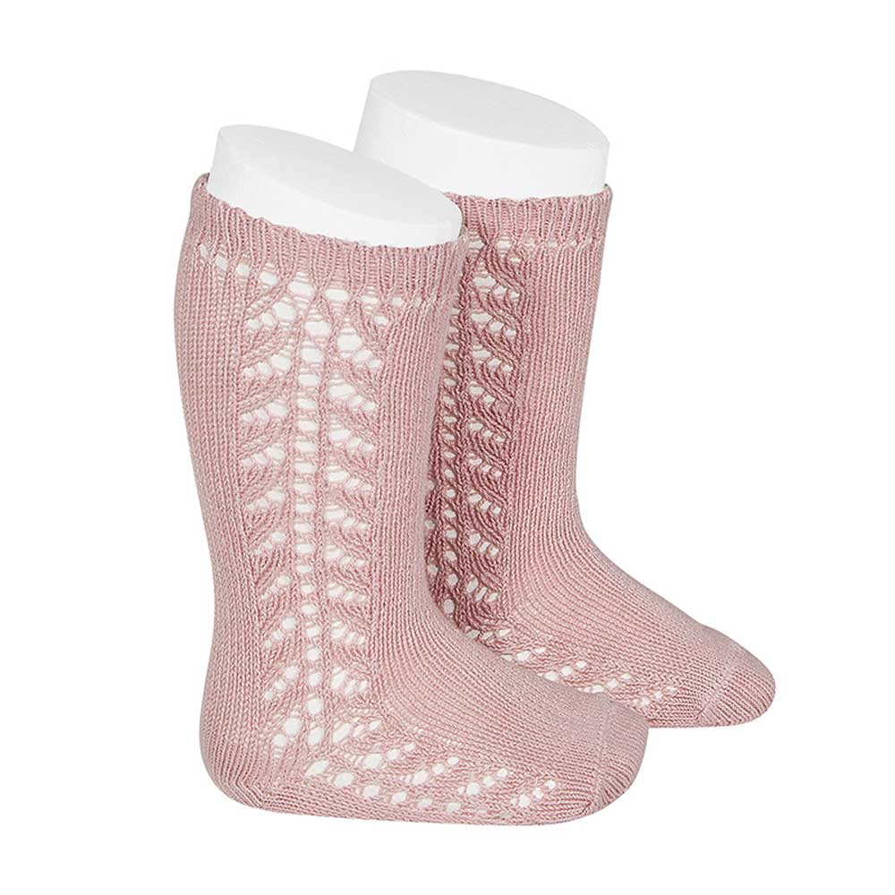 Condor Side Openwork Knee High Socks (526) (old rose/rosa palo)