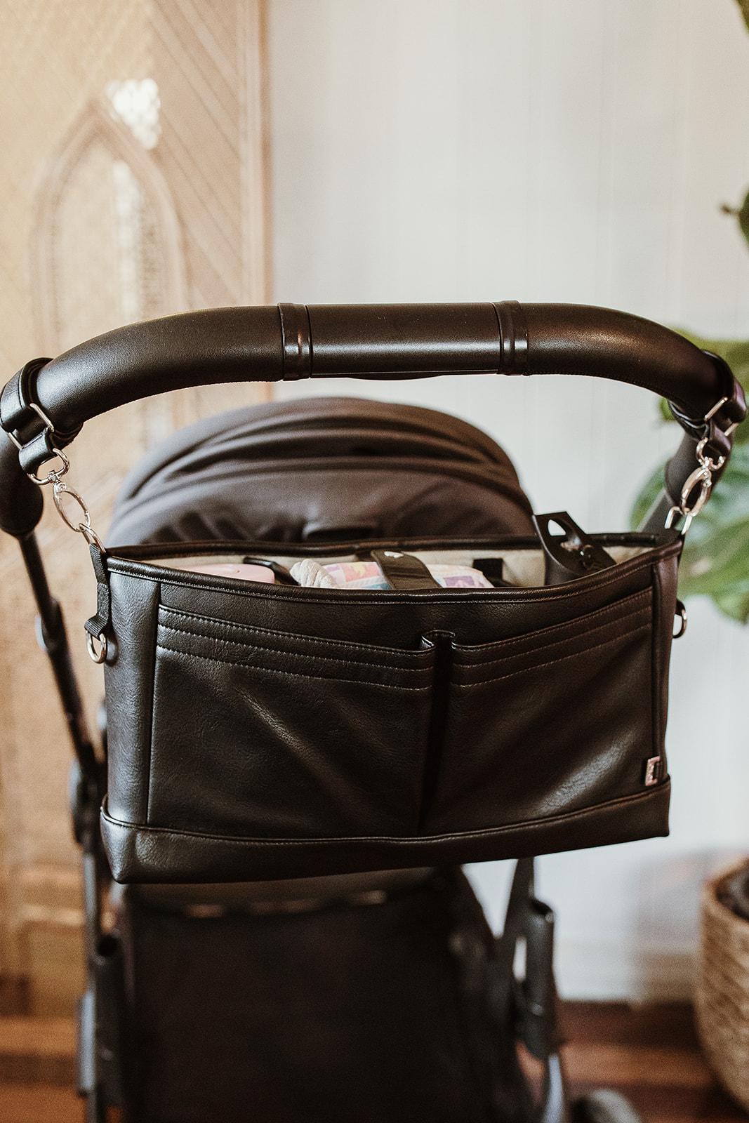 Oioi Faux Leather Stroller Organiser (black)