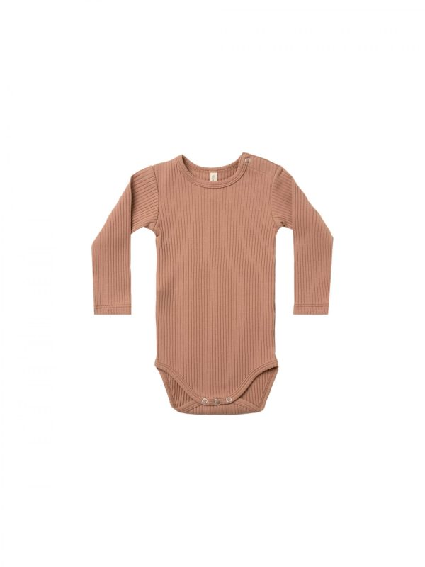 Quincy Mae Ribbed L/S Onesie (terracotta)
