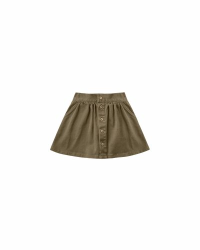 Rylee and Cru Button Front Mini Skirt (olive) **Pre Order