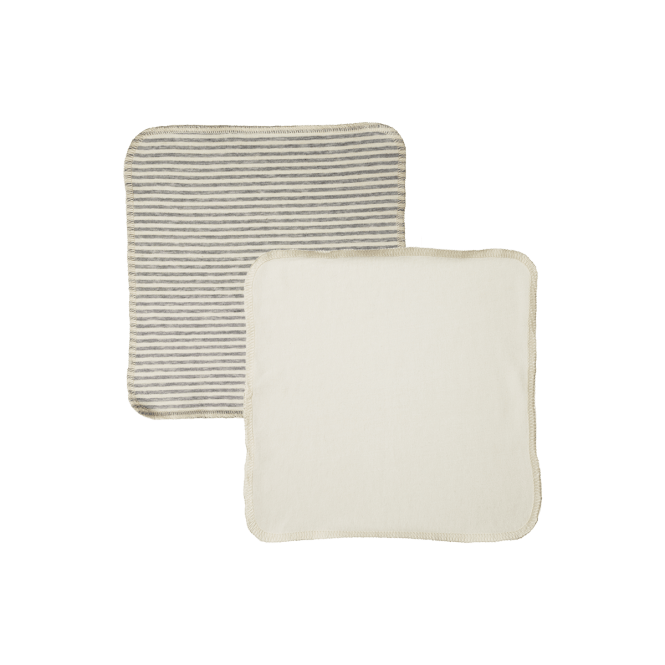 Nature Baby Jersey Face Cloth Pk 10 (natural/grey marl stripe)