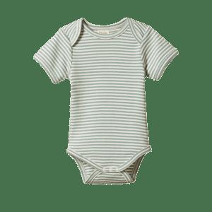 Nature Baby Short Sleeve Bodysuit  (lagoon stripe)