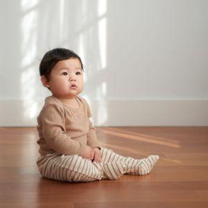 Nature Baby Cotton Footed Legging (nougat stripe)