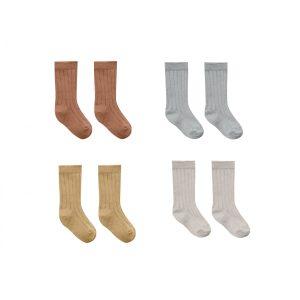 Quincy Mae Baby Socks 4 Pack (clay, blue, honey,ash)