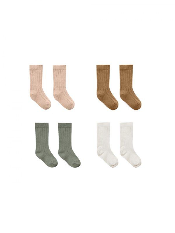 Quincy Mae Baby Socks 4 Pack (ivory, basil, petal, walnut)**PRE ORDER