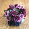 Easy flower arrangement in a spray painted basket