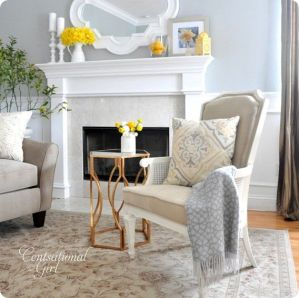 Whites and yellows for this spring mantle