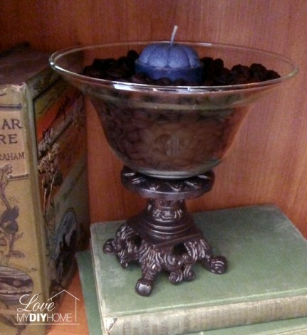 Updated - old brass dish into an old world candle holder