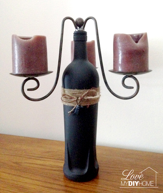 Chalkboard Painted Bottle Candle Holder {Love My DIY Home}