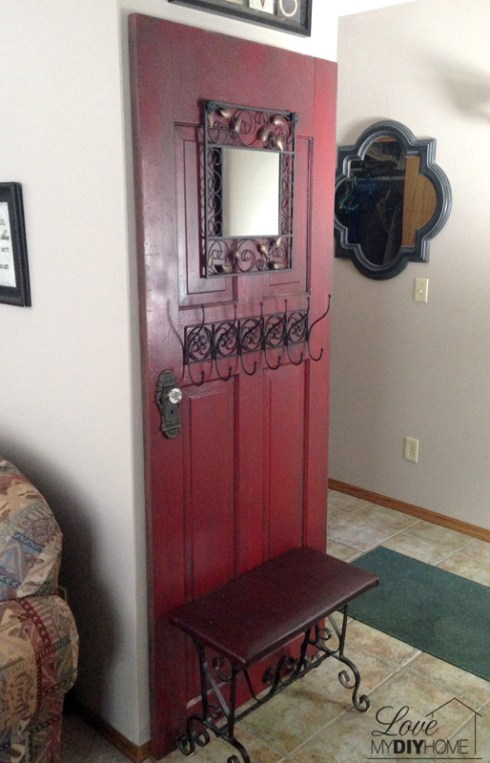 Take an old, antique door and turn it into something fabulous! Door Turned Hall tree {Love My DIY Home}