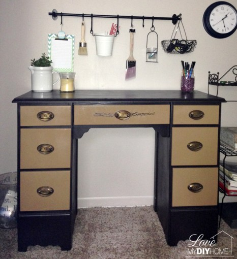 Spray painted desk for a new craft closet. {Love My DIY Home}