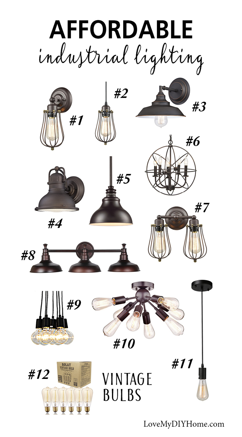 Budget Industrial Lights Idea Board {Love My DIY Home}
