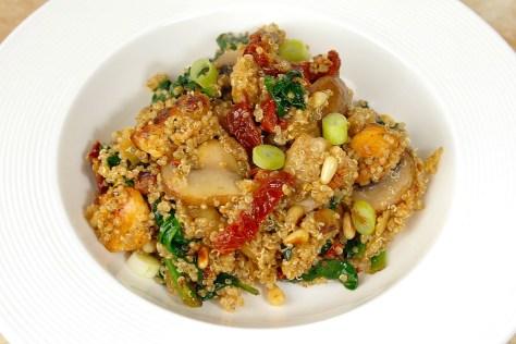 Quinoa met kip, spinazie en champignons - Lovemyfood