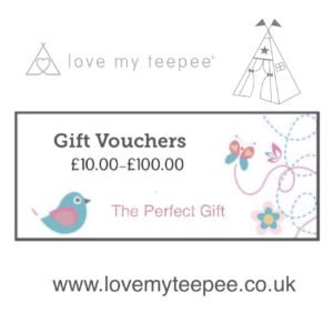 Childrens teepee gift vouchers - by Love My Teepee