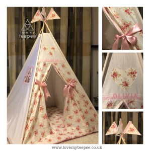 shabby chic pink and cream rose teepee set