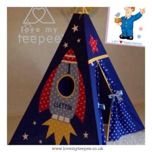 Childrens personalised rocket teepee