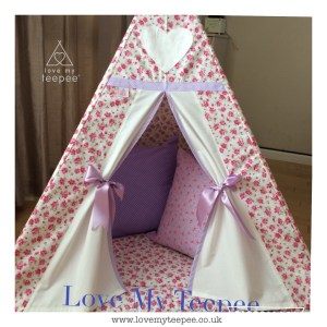 Childrens rose teepee edged in lilac