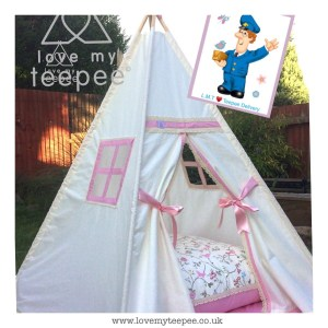 Childrens ivory teepee edged in pink lace and bird trail cushion
