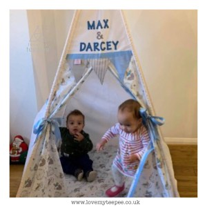 children playing in their peter rabbit teepee
