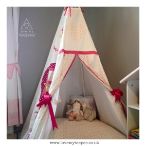 teepee set up in a childrens bedroom