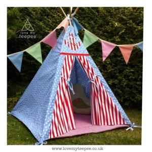 blue spot & red stripe bespoke teepee set