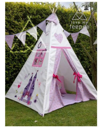 window frame and appliqued large enchanted castle on the side of a teepee decorated with flowers, butterflies, fairies, frog