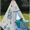 teepee tent elephant blue and green