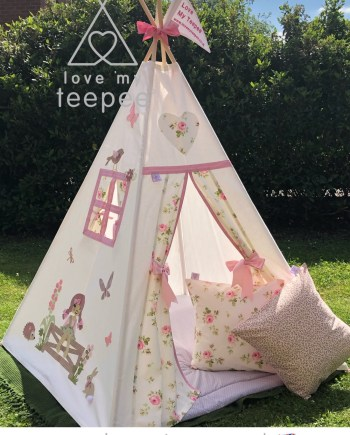 country girl teepee tent rose fabric appliqued handmade bespoke