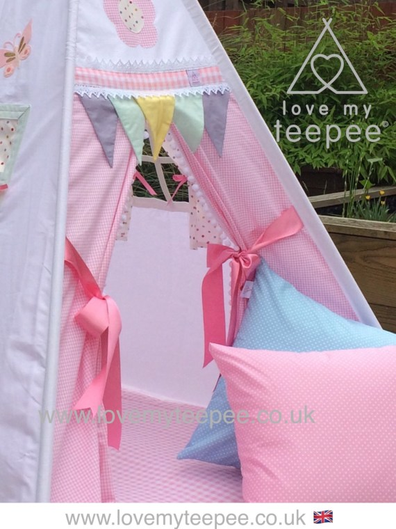 lace teepee pink bow tiebacks pastel flags
